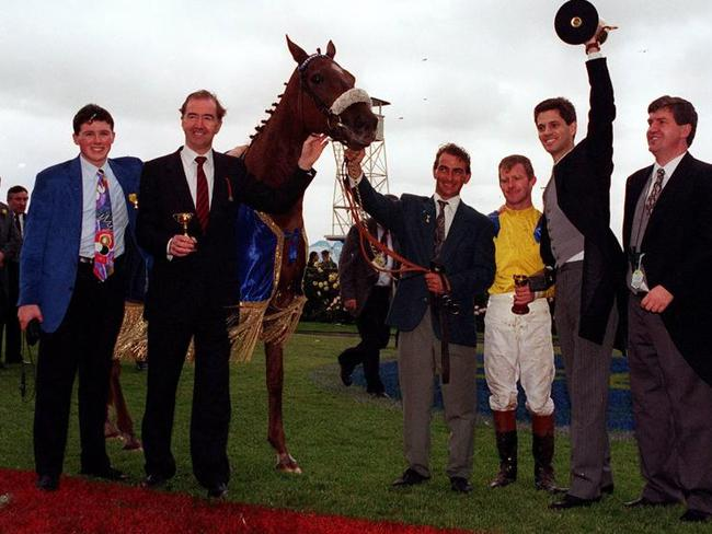 Vintage Crop with jockey Michael Kinane, trainer Dermot Weld and owner Tony Smurfit after their 1993 success.