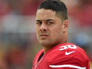 SANTA CLARA, CA - OCTOBER 18: Jarryd Hayne #38 of the San Francisco 49ers looks on from the sidelines against the Baltimore Ravens during an NFL game at Levi's Stadium on October 18, 2015 in Santa Clara, California. (Photo by Thearon W. Henderson/Getty Images)