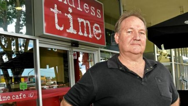 Paul Smart from the Endless Time Cafe in Nambour has been copping online abuse after the One Nation press conference was asked to move away by C-Square management. Picture: Warren Lynam
