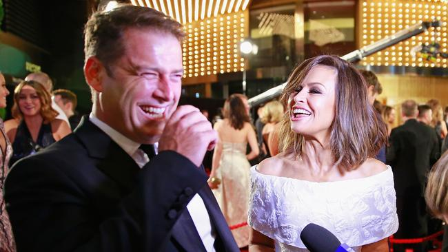 Karl Stefanovic and Lisa Wilkinson arrive at the Logie Awards at Crown Palladium in 2015.