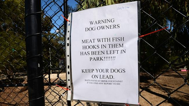 A warning sign has been posted at the Newport Lakes Reserve. Picture: Mike Keating