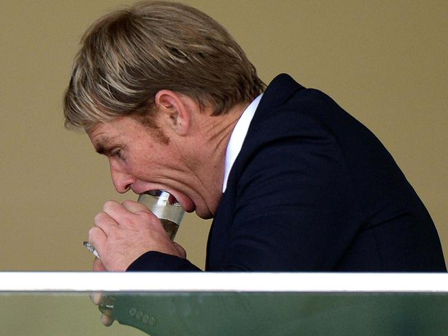 Warne was taking a slightly different approach to inhaling his frothy here.