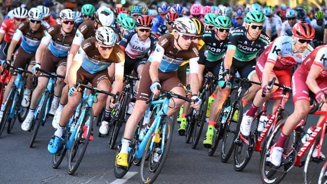 The peloton during the People's Choice Classic at the Tour Down Under. Picture: AAP / David Mariuz