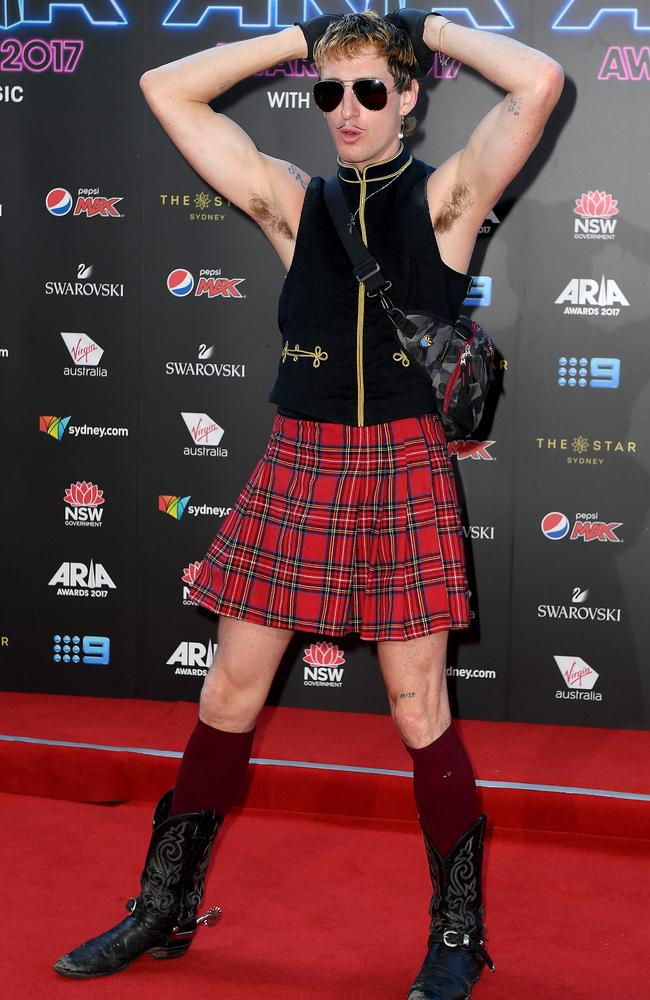 Kirin J. Callinan arrives at the 31st ARIA Awards at The Star, in Sydney. Picture: Dan Himbrechts/AAP