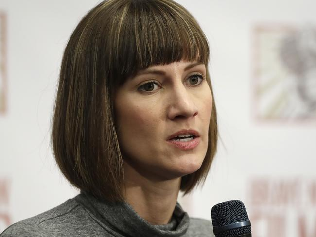Rachel Crooks speaks at a news conference in New York to discuss her accusations of sexual misconduct against Donald Trump. Picture: AP.