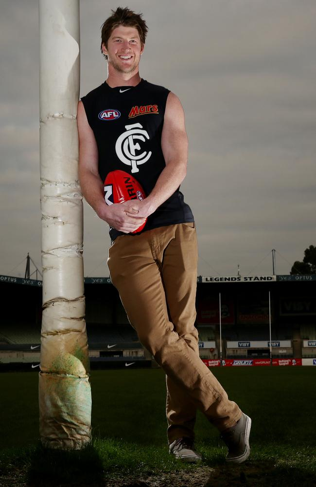 Rowe has come from nowhere to become one of the Blues most valuable defenders. Picture: Colleen Petch