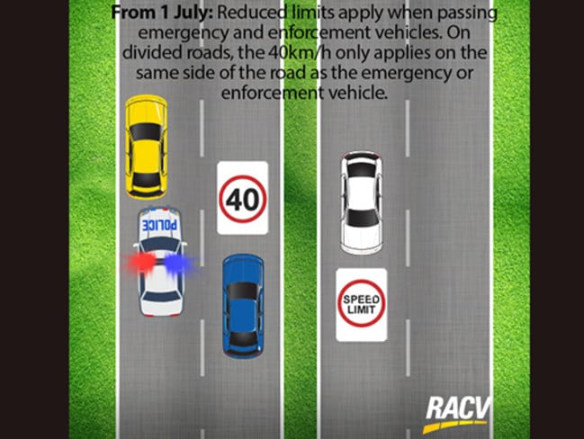 The new road rule varies across states — it's 40km/h in Victoria. Picture: RACV