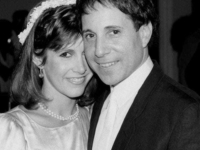 Fisher on the day of her marriage to pop star Paul Simon. Picture: Marty Lederhandler/AP