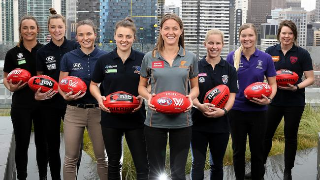 Inaugural AFLW draftees (from left) Nicola Stevens (Collingwood), Bianca Jakobsson (Carlton), Emily Bates (Brisbane), Ebony Marinoff (Adelaide), Nicola Barr (GWS), Jaimee Lambert (Bulldogs), Hayley Miller (Fremantle) and Elise O'Dea (Melbourne). Picture: Tim Carrafa
