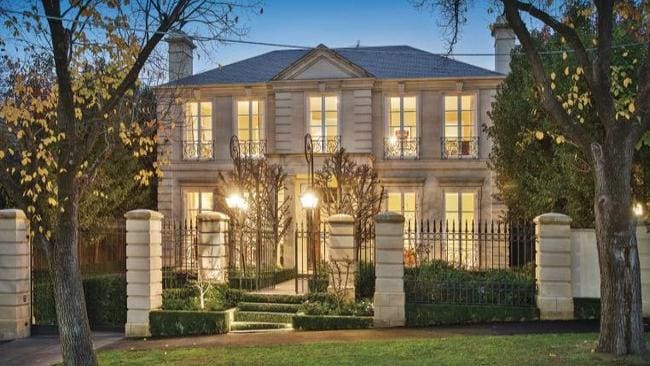 34 Kooyongkoot Rd, Hawthorn. A French provincial inspiration lead to the front of the house being made of limestone.