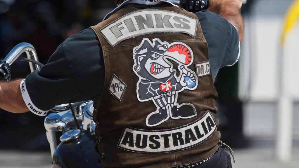 Fink bikies descend upon a BP service station in Glenrowan. Picture: Jake Nowakowski