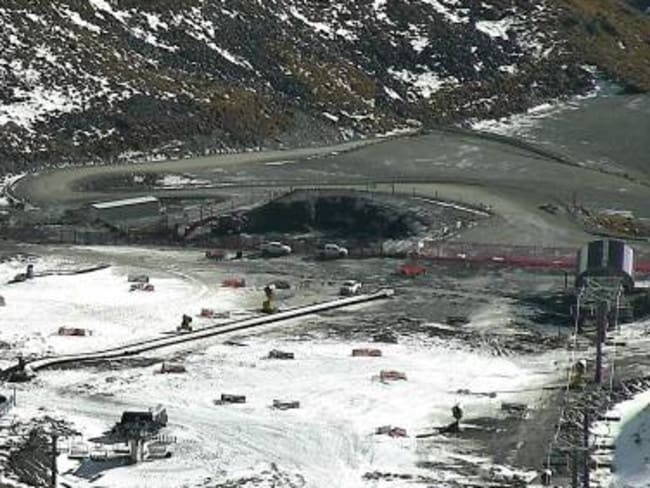 The Remarkables skifield base area looking rather unremarkable with only patchy snow.