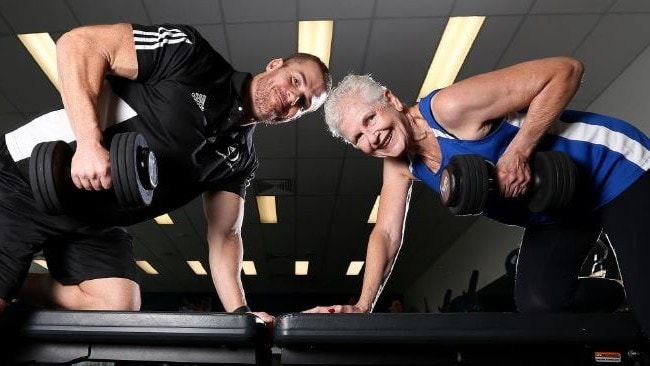 Photo: Supplied. Marion Keane and Goodlife Health Clubs personal trainer Michael Lea.