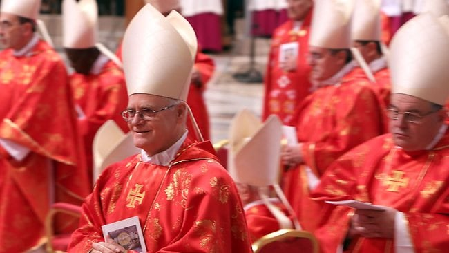 Brazilian Cardinal Odilo Schrerer attends the Pro Eligendo Romano Pontifice Mass at St Peter's Basilica.