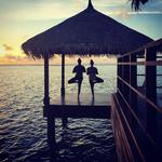 "Elle Macpherson at Shangri-La's Villingili Resort Spa, Maldives, ""Sunsets."" Picture: Instagram"