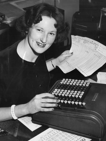 Miss Joy Smith, of East Malvern, who worked as an adding machine operator or comptometrist for General Motors Holden at Fishermans Bend in 1955. Picture: Herald Sun Image Library / ARGUS