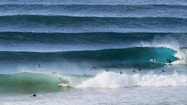 The surf was pumping along the Coolangatta coast, and more is forecast today. Picture: Luke Marsden