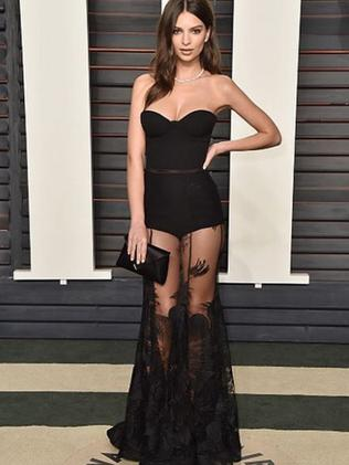 Emily Ratajkowski in Steven Khalil at the Vanity Fair Oscars party.