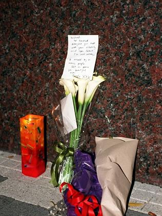 Flowers placed outside the Ritz-Carlton Hotel in November 1997.