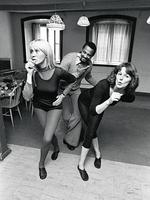 """Choreographer Graham Tainton, the man behind ABBA's stage presentation. Agnetha and Frida taking dance lessons, a year after they had pranced out onto the Brighton disco floor. The choreographer is Graham Tainton, a South African who fled apartheid in 1959 and moved to Sweden. He was a cousin of Miriam Makeba and friends with Desmond Tutu and Nelson Mandela. Tainton's children –Blossom, Kelly, David and Themba- have all made names for themselves in Swedish show business. Frida: I've always been really fond of dancing. When I was ten I wanted to be a ballet dancer. -- Hardie Grant Books. """"ABBA: The Official Photo Book"""" - Picture: Roger Tillberg/Sjöberg Bild."""