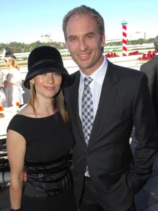 Kat with her husband David Whitely at Royal Randwick races.