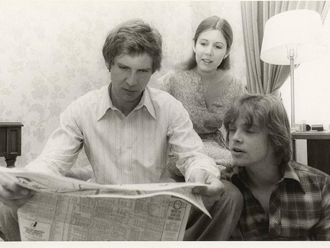 Reunited ... Harrison Ford (left) will reprise his role as Hans Solo with Star Wars co-stars Carrie Fisher and Mark Hamill. Picture: Supplied/Carrie Fisher's personal collection