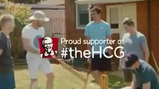 Mates playing backyard cricket with David Warner in the old KFC ad.