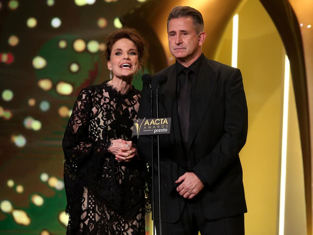 Sigrid Thornton and Anthony LaPaglia during the 5th AACTA Awards Presented by Presto at The Star on December 9, 2015 in Sydney, Australia. Picture: Getty