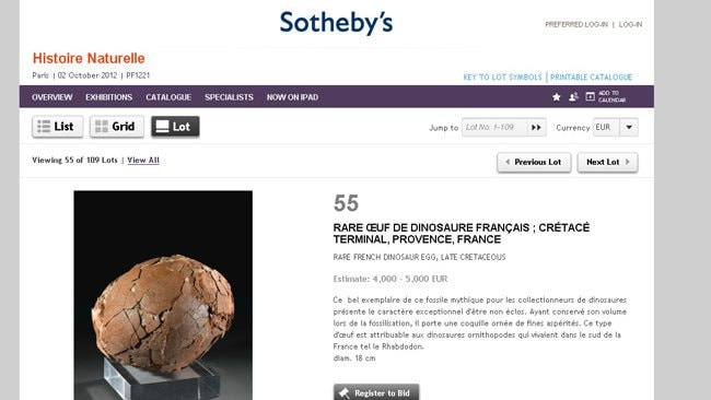Sotheby's in Paris is auctioning off a dinosaur egg.