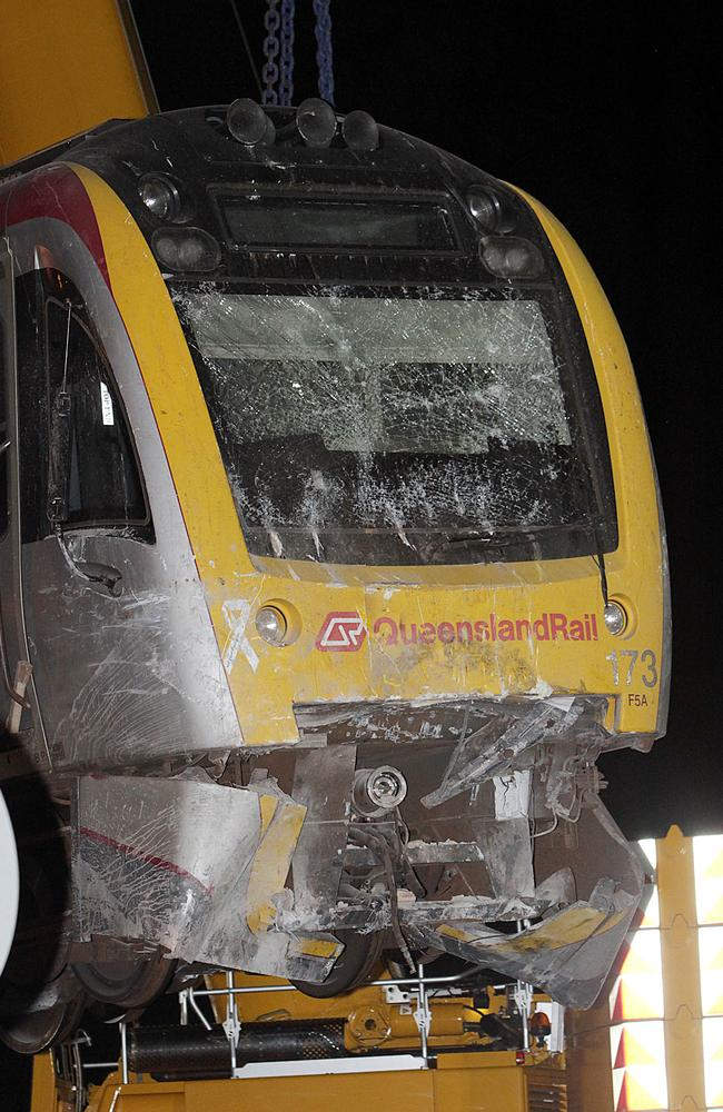 The train that crashed into Cleveland Station in Brisbane being removed from the track. Picture: Marc Robertson