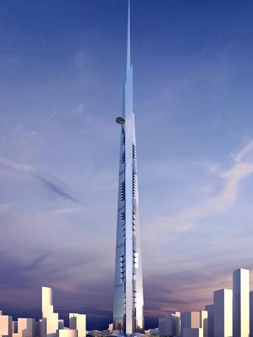 A model of the Kingdom Tower in Jeddah. Designed by Adrian Smith + Gordon Gill Architecture.
