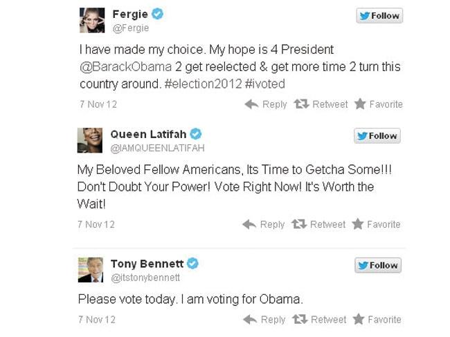 Celebs tweet election 2012