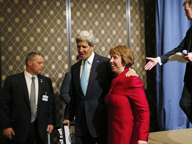 Deal done ... Secretary of State John Kerry and European Union High Representative Catherine Ashton, leave the stage after announcing the Ulraine deal.
