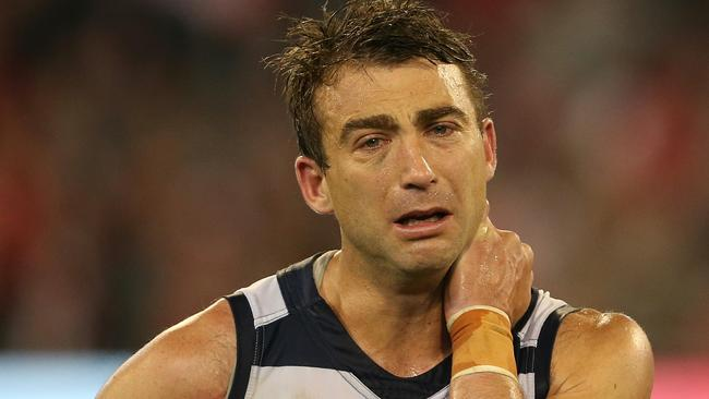 Corey Enright couldn't hold in his emotions after the game. Picture: Wayne Ludbey
