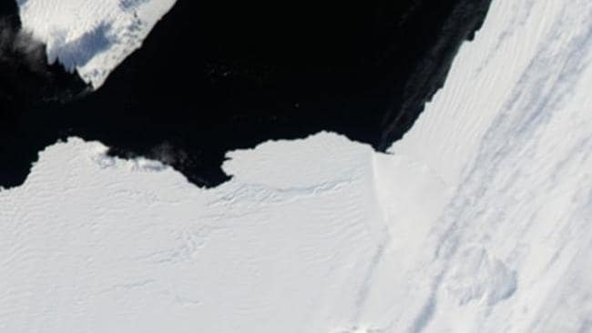 Late February ... The iceberg is still attached to the shelf but is slowly moving away. Picture: NASA