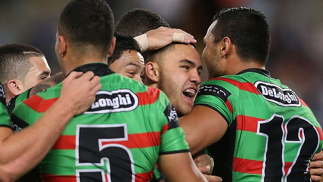 The Rabbitohs celebrate a Dylan Walker try on the way to a narrow win. Photo by Mark Metcalfe/Getty Images