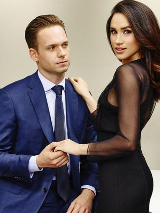 Meghan Markle, pictured with co-star Patrick J Adams, has quit Suits. Picture: Supplied