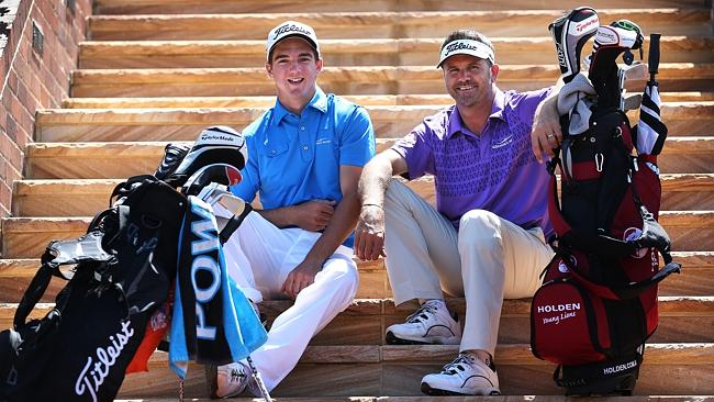 Andre Stolz with his 18 year old son Zac who will both be playing in this weeks Australian Open Golf at Royal Sydney Golf Club. pic. Phil Hillyard