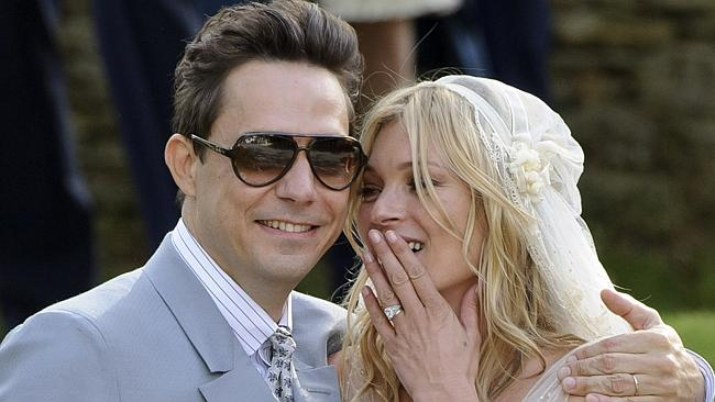Kate Moss and Jamie Hince on their wedding day, after she ordered him online. Picture: AP Photo