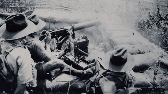 A Vickers machine gun firing in Darwin in 1942. This year marks the 75th anniversary of the bombing of Darwin during World War II. Picture: AAP Image/History NT.