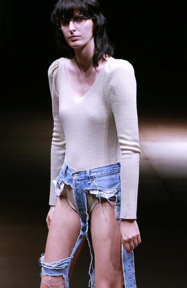 The barely-there jeans were debuted at the Amazon Fashion Week in Tokyo and leave little to the imagination. Picture: AP Photo/Shizuo Kambayashi.