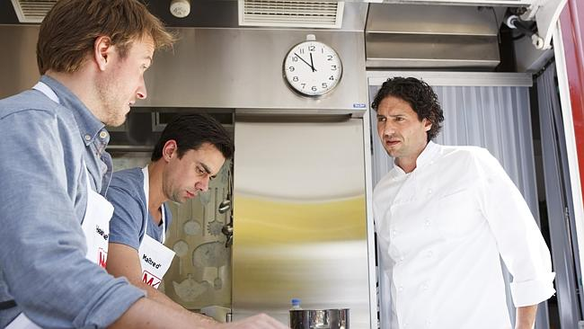 Victorian contestants Harry and Christo cop a grilling from guest judge Colin Fassnidge in the Melbourne food truck.