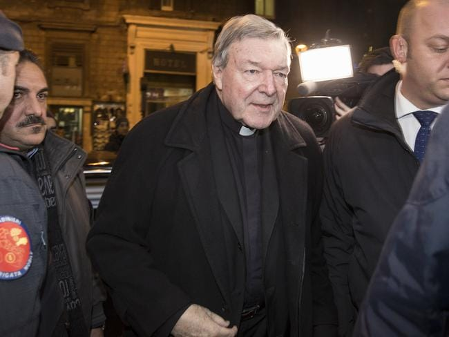 Cardinal Pell pictured arriving to Hotel Quirinale in Rome on the third day of the video-link hearing with the Royal Commission. Picture: Ella Pellegrini
