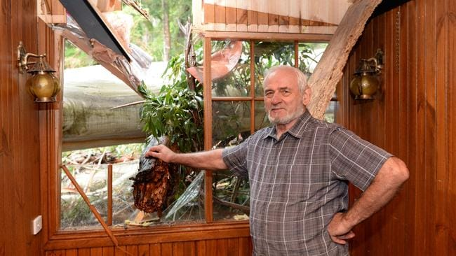 Micawber Tavern in Belgrave owner Vic Beatty inspects the damage. Pictures: Angie Basdekis