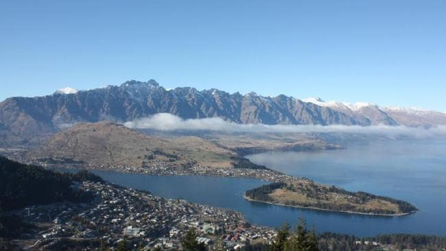 The Remarkables (background), and Lake Wakatipu (foreground), which stretches as far as your eye can see, and runs 300m deep.