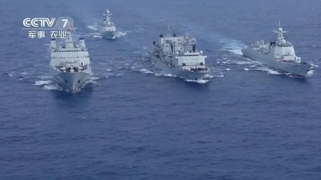 A screen capture of Chinese media footage showing the naval task force currently operating in the eastern Indian Ocean. It includes an amphibious assault ship, a guided missile destroyer and frigate, and a supply ship. Picture: CCTV7