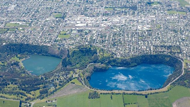 Aerial view of Mt Gambier's Blue Lake. Picture: Frank Monger