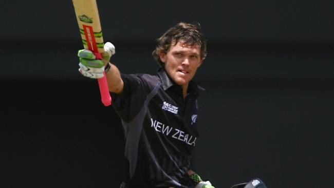 Lou Vincent of New Zealand celebrates his century during the ICC Cricket World Cup in 2007.