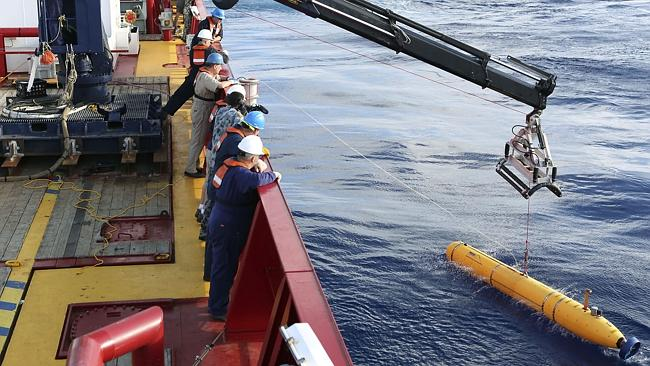 Race against time ... the autonomous underwater vehicle deployed from the Ocean Shield will try to locate MH370's black box.