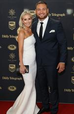 Jared Waerea-Hargreaves and Chelsea Jared Waerea-Hargreave arrive ahead of the 2017 Dally M Awards at The Star on September 27, 2017 in Sydney, Australia. Picture: Mark Metcalfe/Getty Images
